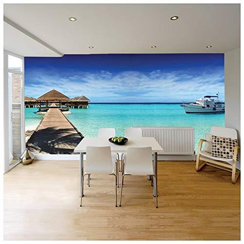 azutura Strand Hütte & Ozean Fototapete Paradies-Strand Tapete Seelandschaft Wohnkultur Erhältlich in 8 Größen Klein Digital