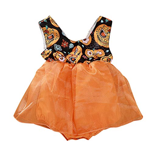Halloween Kleinkind Baby Neugeborene Mädchen Kürbis Gedruckt Strampler Kleid Overalls Tüll Tutu Rock Kleider Babybekleidung Outfits Taufkleid - Kleinkind-kürbis-pie