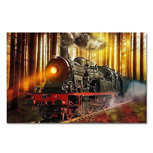 DESIGN82 Berlin Design Poster Druck auf Echtem Fotopapier - Eisenbahn | Log | Zug | Schienen | Gleise | Dampf | Lokomotive, Design:Design 4, Format & Größe:90 x 60 cm | 3 zu 2