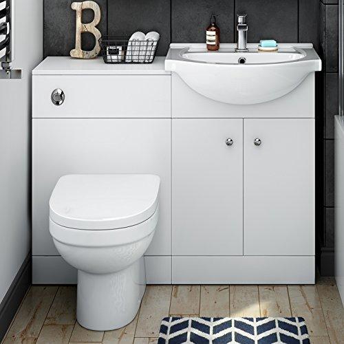 1050 mm Matte White Vanity Unit Luxury Toilet Bathroom Sink Storage Furniture