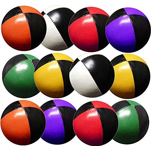 Preisvergleich Produktbild Set 12 Jonglierbälle 57mm 70g jedes (Bi-Farbe je 2) Black & Red, Black & Green, Black & Yellow & Orange, Schwarz und Violett