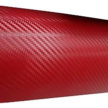 AERZETIX: 127/75cm Pelicula adhesiva vinilo fibra de carbono rojo termoformable C17207