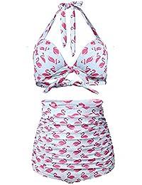 Retro 50s Pin Up Halter Cintura Alta Bikinis Mujer Bañadores Traje de Baño de LaLaAreal