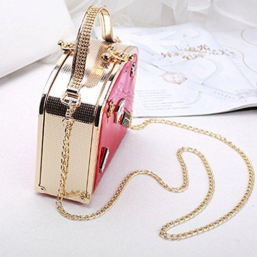 AiSi Damen süße Handtasche/ Damenhandtasche/ Umhängetasche/ Henkeltasche/ Clutch/ mit Umhängekette schwarz rot
