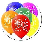 10 Latexballons Geburtstag Zahl 60 bunt gemischt 30cm Durchmesser