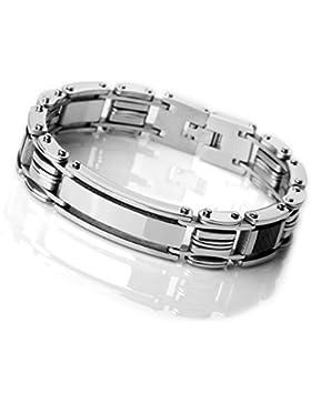 MunkiMix Edelstahl Kohlenstoff Carbon Fiber Kohlefaser Armband Link Handgelenk Silber Ton Schwarz Rechteckig Herren