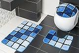 3-teilig Badset Badgarnitur Badematten Badteppich Stand-WC Blau n81 Borneo II