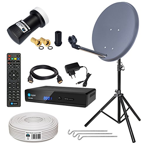 HB-DIGITAL Sat-Komplett-Set: Mini Sat Anlage 40cm Schüssel Anthrazit + UHD Single LNB 0,1 dB + 10m Kabel + HD 350S Receiver ( für HDTV geeignet ) + Alu Stativ