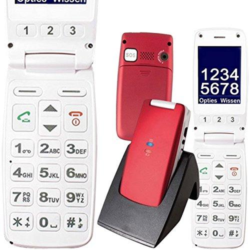 Mobiho-Essentiel le CLAP EXTRA Rouge et blanc - mobile senior clapet. Avec un son fort et un grand écran, tous les fonctions nécessaires pour un sénior ayant un problème de vision et d'audition