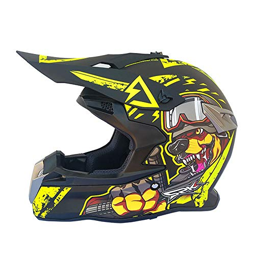 LEENY Adult Motocross Helm Motorrad Off-Road-Helm, Unisex Integralhelme Sport Adventure Enduro Motorradhelme und Mountainbike-Helm, Moto-Cross MTB Schutzhelm Schutz Sicherheit,Yellow,XXL