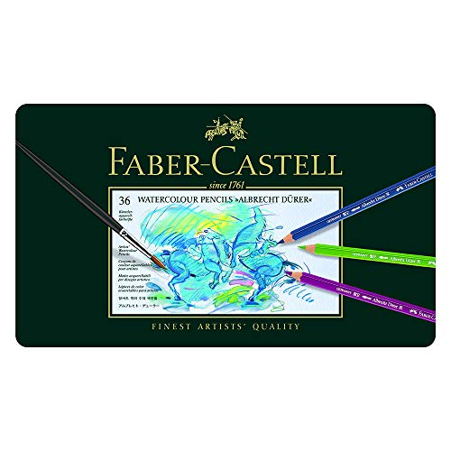 Faber-Castell 117536 - Estuche de metal con 36 lápices acuarelables, multicolor