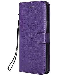 DENDICO Galaxy J7 2018 Hülle, PU Leder Wallet Tasche Handyhülle mit Standfunktion und Kartenfach, Magnetverschluss Flip Brieftasche Etui TPU Schutzhülle für Samsung Galaxy J7 2018 - Lila