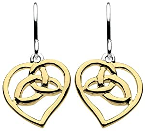 Heritage Sterling Silver and Gold Plated Knot in Heart Drop Earrings