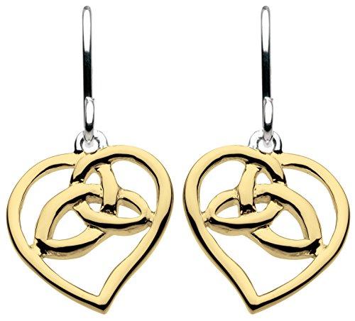 Heritage-Collana in argento Sterling, a forma di nodo, in oro e orecchini pendenti a forma di cuore