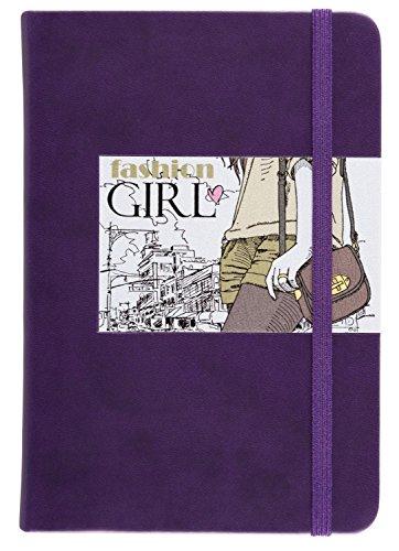 """Preisvergleich Produktbild Idena 209297 - Notizbuch """"Girls"""", 118 x 170 mm, 160 Seiten, 100 g/m², kariert, mit Innentasche und Lesezeichen, FSC-Mix, lila"""