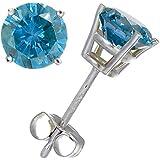 1.50 CT Blue Diamond Stud Earrings 14k Gold