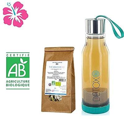 Thé minceur Bio + Bouteille infuseur détox - Fabriqué en France - Cure 15 jours - Des ingrédients 100% naturels pour atteindre vos objectifs bien-être et minceur.