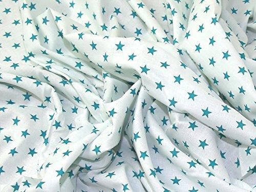 10mm Star Print Baumwolle Kleid Stoff Blaugrün auf weiß-Meterware