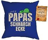 Vatertagsgeschenk für Papa Kissen mit Füllung und Urkunde zzzz... Papas Schnarch Ecke Geschenk für Papa zum Vatertag Weihnachten Geburtstag