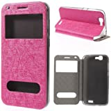Flip Case Handy-Hülle Etui Business Case Cover deep-pink rosa Huawei Ascend G7