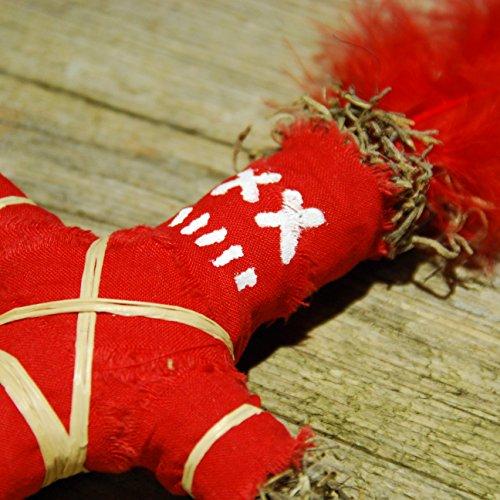 Wanga Doll red - Authentische Voodoo Puppe mit Nadel und Ritualanleitung - Liebeszauber