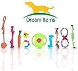 Hundespielzeug Set 10-teilig. Geflochten Seil, Ball, Frisbee. Interaktives Baumwoll-Kauspielzeug für kleine Hunde und Welpen.