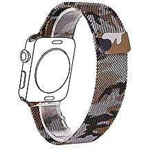 Correa para Watch Series 1 / 2,con Protector de Pantalla,Bandmax 42mm Milanese Loop Correa Milanesa Camuflaje Reemplazo de Banda de Cierre Magnético para Apple Watch Todos los Modelos (42mm,Camuflaje)