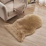 60 * 100CM Schaffell Lammfell-Teppich Pastell Schwarz / Rosa / Grau/ Khaki / Weiß Kunstfell Schaffell Imitat | Wohnzimmer Schlafzimmer Kinderzimmer | Als Faux Bett-Vorleger oder Matte für Stuhl Sofa
