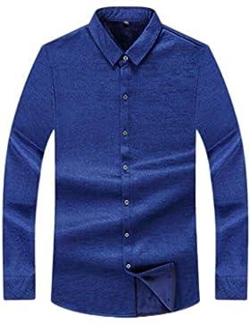 Camisa Cálida Para Hombres Más Camisa De Manga Larga De Terciopelo Grueso Para Aumentar La Camisa De Imprimación...