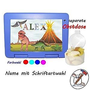 Kinder Brotdose mit Dinosaurier Motiv und Name/Lunchbox für Kinder mit Name/Dino/Farbwahl Brotbox + Schriftwahl für Name
