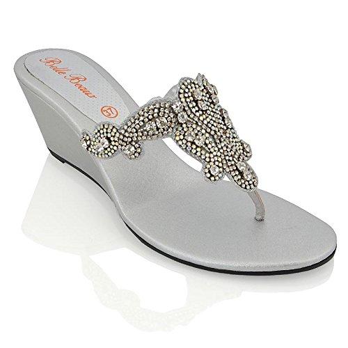 Essex glam sandalo donna argento infradito tacco a cuneo finto diamante elegante festa eu 39