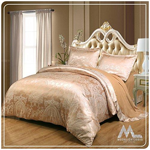 Moonlight20015 Luxus Style Best Qualität Ever In Satin Jacquard Bettbezug Bettbezug mit Bettlaken & 2kissenrollen, Caramal, King (220x230 cm) -