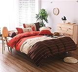 HTST Einfache Gestreiften bettwäsche Polyester Schlafzimmer flachblech Nicht verblassen Bettbezüge Geschenk 3 stücke, 001, 200x230cm