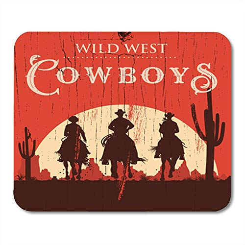Western Silhouette (Gaming Mauspad Black Western Silhouette of Cowboys Riding Horses on Wooden Sign Wild West 11.8