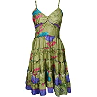 Evelyn Ladies Summer Dress Recycled Sari Speghetti Strap Vintage Printed Beach Holiday Sundress