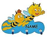 Garderobenhaken - die Biene Maja und Willi fliegen - aus Holz - incl. Namen - für Kinder mit 3 Haken - Kinderzimmer Garderobe Kleiderhaken / Garderobenleiste Kindergarderobe Wandhaken Wandgarderobe