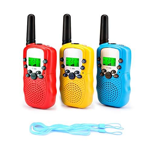 Fansteck 3er Walkie Talkies für Kinder, Funkgeräte Set mit Taschenlampe, 8 Kanäle 3KM Reichweite mit Seile für Einkaufen, Freizeitpark, Zelten, Shopping, Indoor