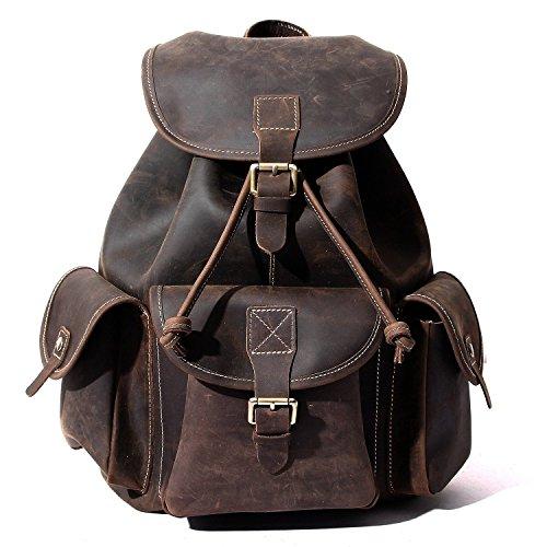 buckle-flap Leder Rucksack, berchirly Vintage Große Reise Rucksäcke Echt Leder Rucksack Schule Rucksack Camping Wandern Tasche für College - Klassische Flap Bag