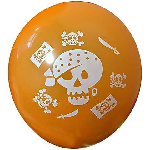 DELEY 100 Piezas Globos de Látex Carnaval De Halloween Decoración Fiesta de los Suministros de 12 Pulgadas Naranja Cráneo