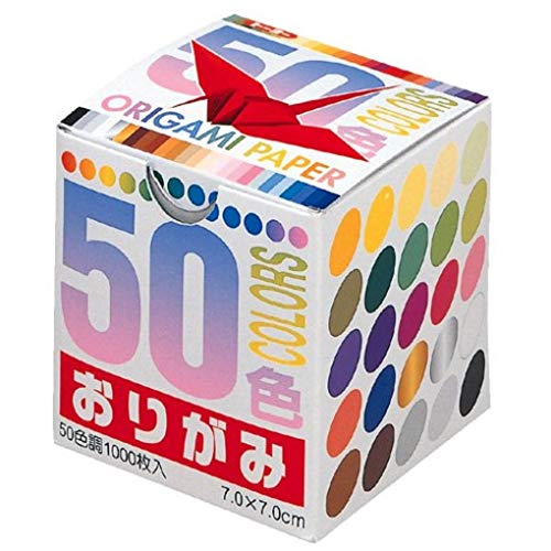 Origami-Papier, 50 Farben 7,0 cm, 1000 Blatt, Großpackung Nr. 001024 -