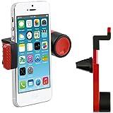 kwmobile soporte para la ventilación del automóvil para Smartphone - soporte para las rejillas de ventilación del coche en rojo - compatible por ej. con Samsung, Apple