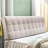 biancheria Cuscino Testiera Cuscino morbido a bordo di un letto singolo o doppio Grande schienale Cuscino lombare cuscino, 5 colori, 6 misure ( Colore : Grigio chiaro , dimensioni : 180*12*58cm )