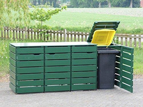 4er Mülltonnenbox / Mülltonnenverkleidung 240 L Holz, Deckend Geölt Tannengrün - 2