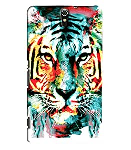 Blue Throat Tiger Face With Blue Effect Printed Designer Back Cover For Sony Xperia C5