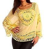 Damen Häkel Shirt Tunika Lochmuster, Farbe:Gelb;Größe:One Size