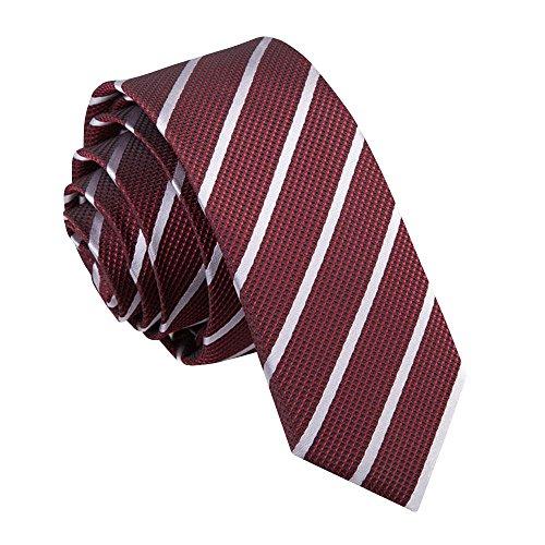 Cravate Super Slim à Rayures Obliques Bourgogne et Argent