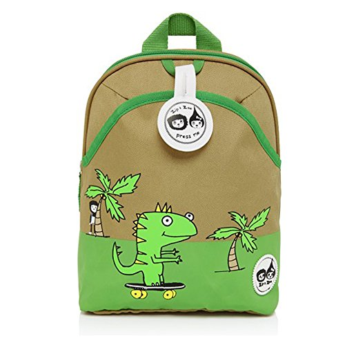 Babymel Kids Mini Backpack Rucksack With Harness amp; Musical Tag - Dylan Dino Palm Design - Suitable From 1-4 Years