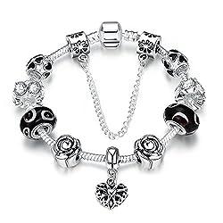 Jewelry4you Damen-Armband, beschichtet mit Silber 925, mit Charm-Perlen mit Blumen-Design