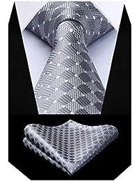 BIYINI Herren Uberprufen Sie Krawatte Taschentuch Hochzeitsfeier Krawatte & Einstecktuch Set