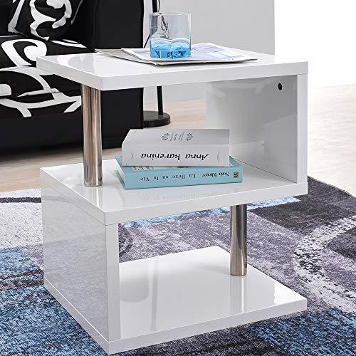 Anaelle Panana Table Basse LED en MDF + Acier Moderne sur Salon, Bureau et Chambre, Taille: 44 x 38 x 52 cm, Poids: 12kg, Blanc